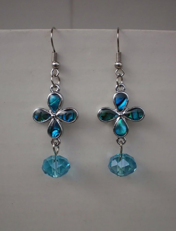Poyal Blue Mother of Pearls Earrings Crystal Beaded Flower Earrings Handcrafted Designer Jewelry