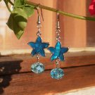 Aquamarine Faceted Crystals Royal Blue Pearlecence Crystal Beaded Earrings Jewelry Gift