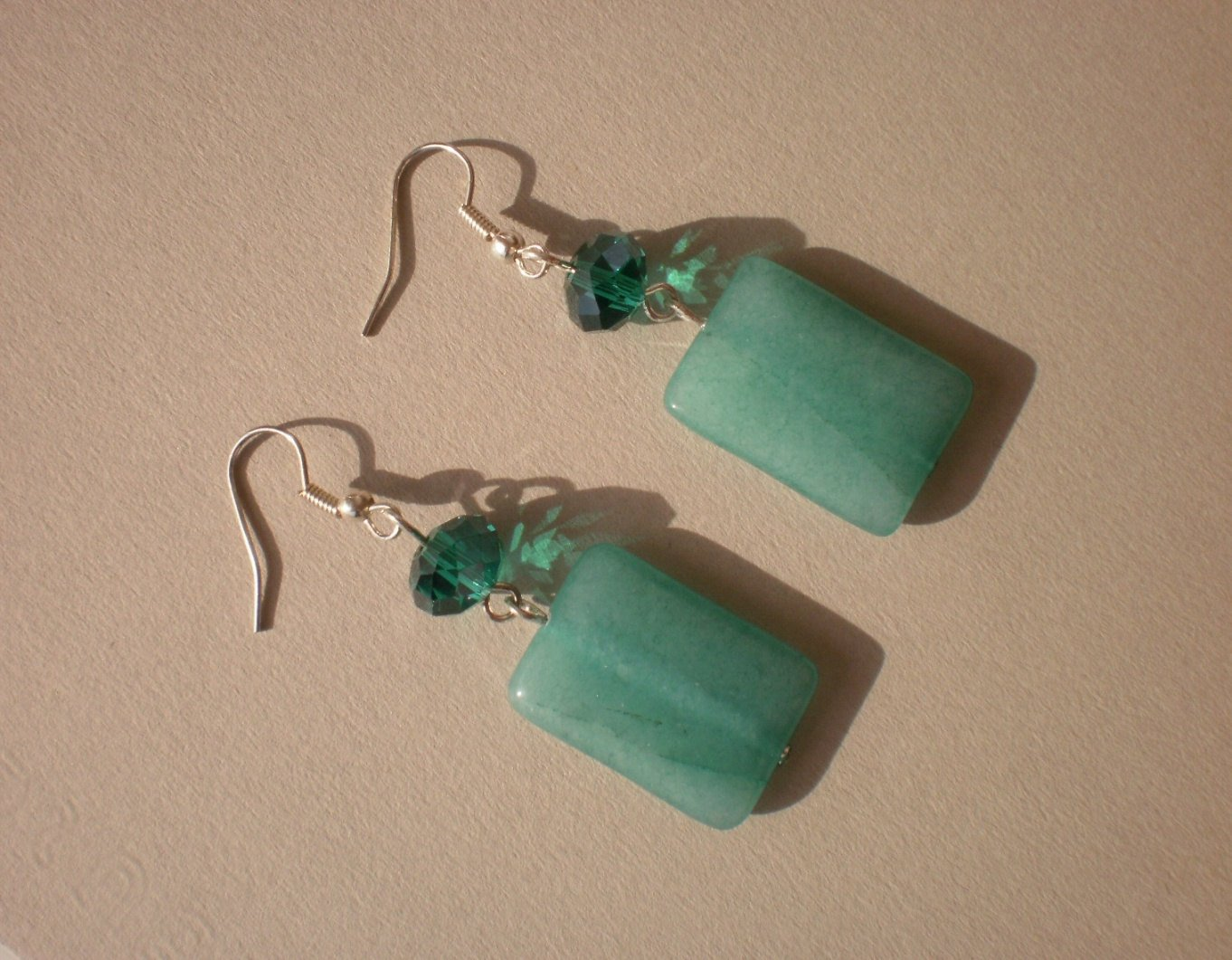 Aventurine Stone Emerald Green Blue Natural Stone Crystal Beaded Dangles Earrings Gemstone Jewelry