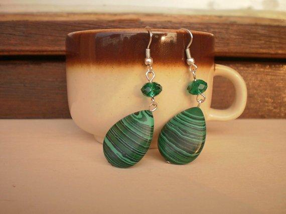 Natural Semi-Precious Malachite Emerald Green Crystals Dangle Drop Earrings Unique Design