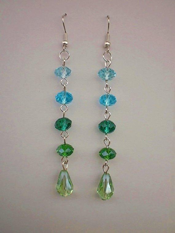 Light Blue Crystal beaded  Earrings  Peridot Green Drops Dangle Earrings Designer Jewelry