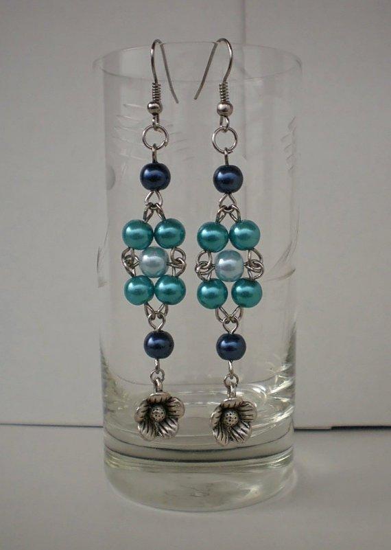 Pale Sky, Navy,Turquoise Blue Glass Pearl Earrings  Flowers Dangle Beaded Earrings Original Gift