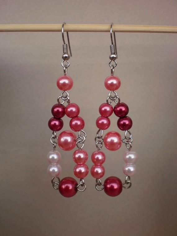 Handcrafted Ivory Rose Peach  Wine Red  Glass Pearl Dangle Beaded Earrings Original Designer Jewelry