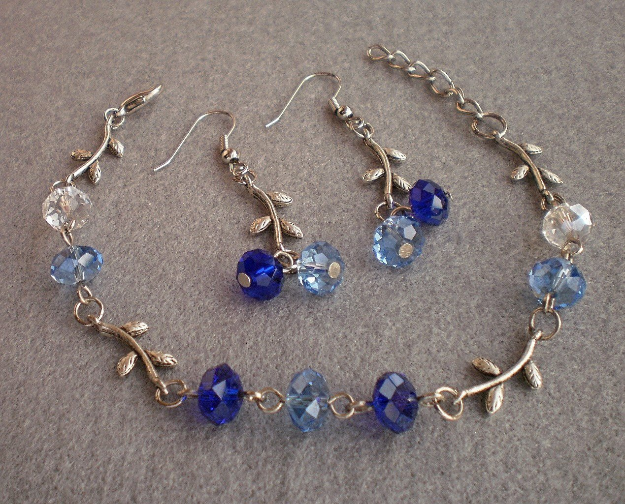 Sapphire Blue /Dark Cobalt Crystal Beaded Bracelet & Earrings Handmade Gift Jewelry Flower Leaft