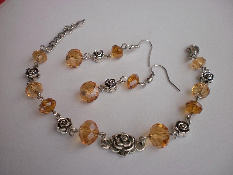 "Crystal Beaded Bracelet & Earrings ""Golg Autumn"" Roses Handcrafted Jewelry Original Gift"