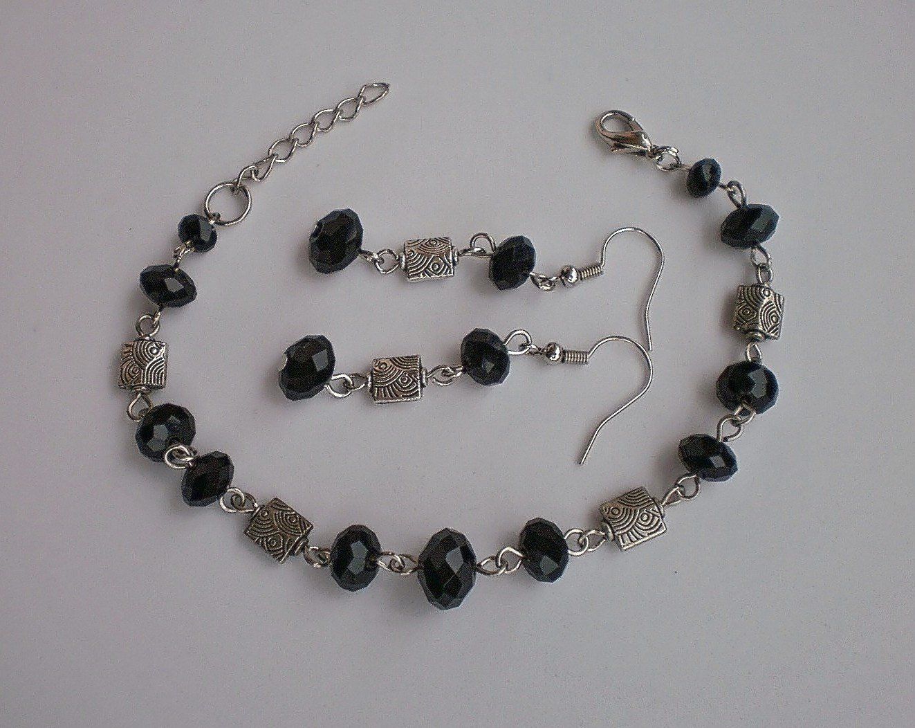 Jet Black Crystal Beaded Bracelet & Earrings Handcrafted Unique Design Jewelry Gift