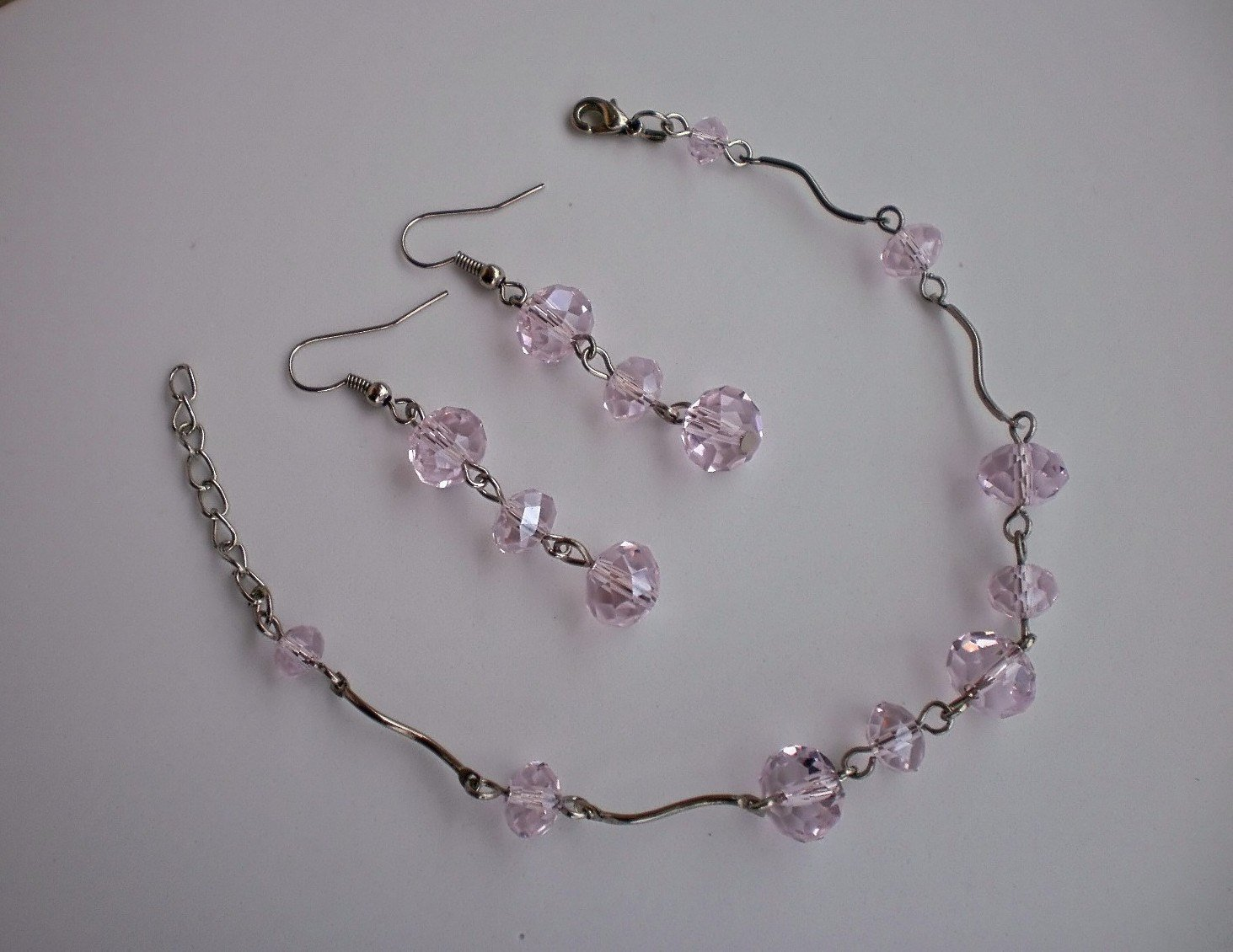 """Chining Crystals Beaded """"Candy-floss"""" Light Pink Rose Bracelet & Earrings Handcrafted Jewelry"""