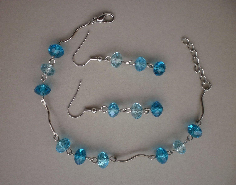 Capri Blue Crystal Beaded Bracelet & Earrings Handcrafted Designer Jewelry Gift Jewelry