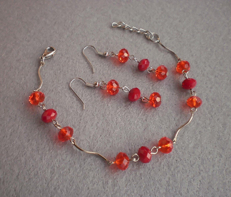 Light Siam/ Dark Red Coral Crystal Braselet & Earrings Handmade Bracelet Handmade Jewelry Gift
