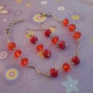 Raspberry Red  Bracelet & Earrings Light Siam Crystal Beaded Jewelry Handcrafted Jewelry Gift