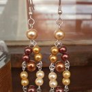 Pale Brown Glass Pearl Dangle Beaded Earrings Handcrafted Mixed Brown Gold Original Gift Jewelry