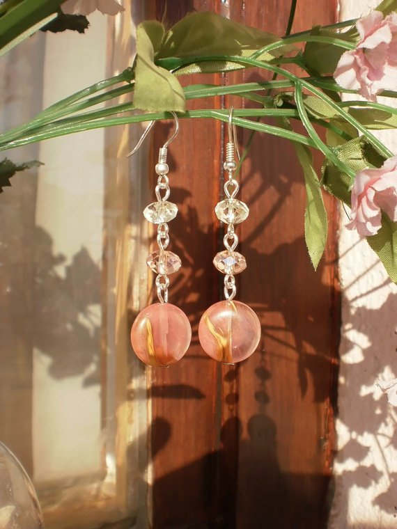 Agate Crystal Beaded Peach Earrings Semi-Precious Stone Earrings Handcrafted Designer Jewelry