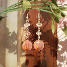 Agate Crystal Beaded Peach Earrings Semi-Precious Stone Earrings Handcrafted Designer Jewelry