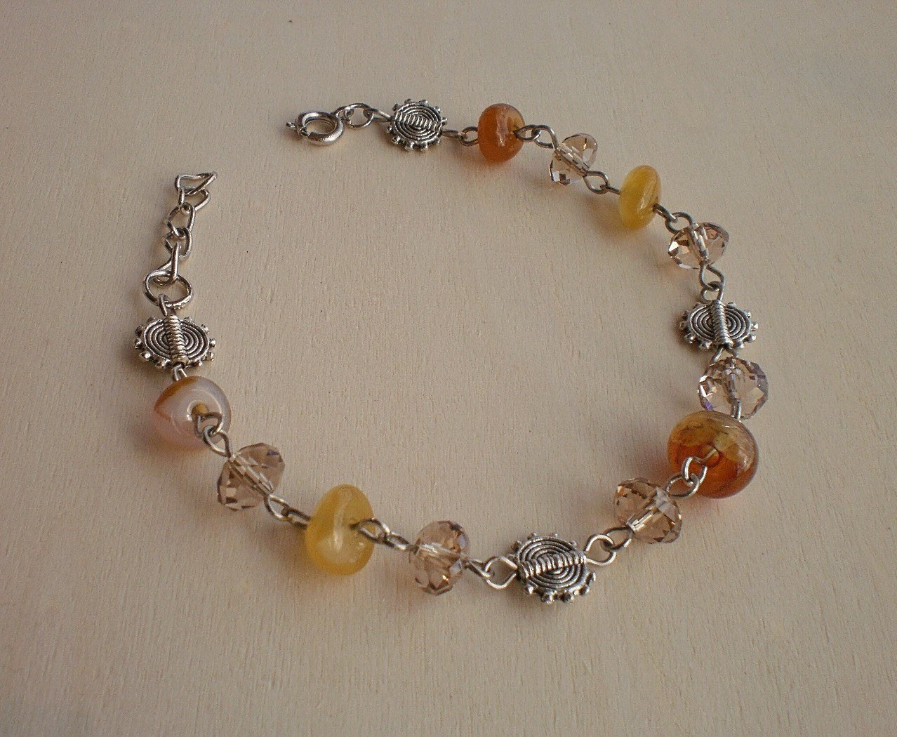 Agate Stone Beads/ Smoky Brown Crystal Semi precious Beaded Link Bracelet Handcrafted Jewelry