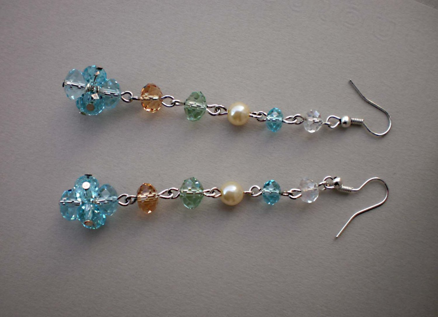 Dangle Crystal Beaded Earrings Multi color Handcrafted Jewelry Original Gift
