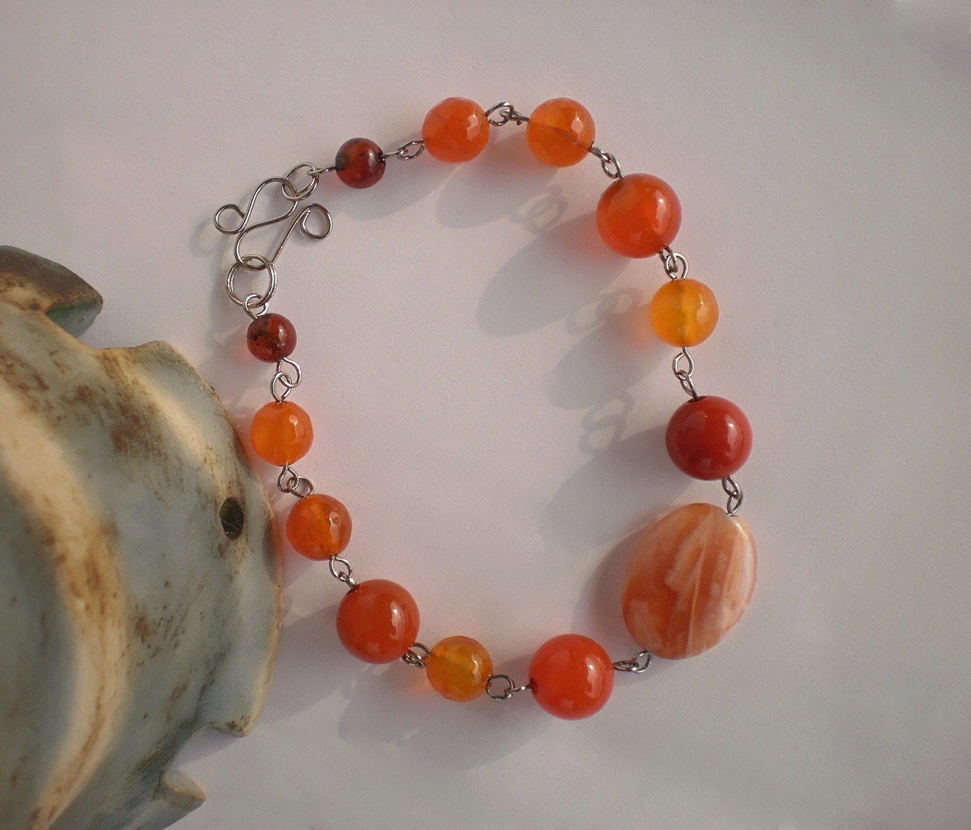 Semi-Precious Agate Beaded Bracelet Agate Jewelry Handcrafted Designer Gift Jewelry Link Bracelet