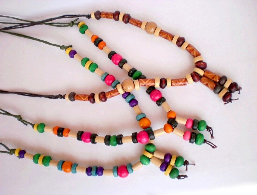 Natural Wood Necklace Wood Summer Mix Colors Wooden beaded necklace