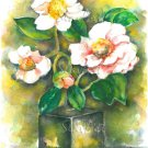 White Flowers Still Life Print Watercolor Panting Realistic Floral Home Decor Gift