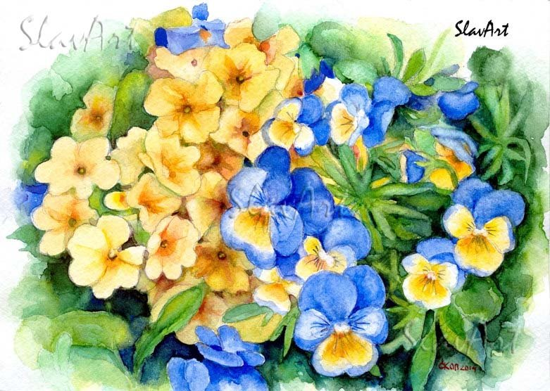 Watercolor painting Oxlip Pansy Yellow Blue flowers Print Fine art Spring Summer garden Home decor
