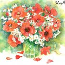 Red Poppies Summer bouquet Watercolor panting print Realistic summer flowers Home decor Illustration