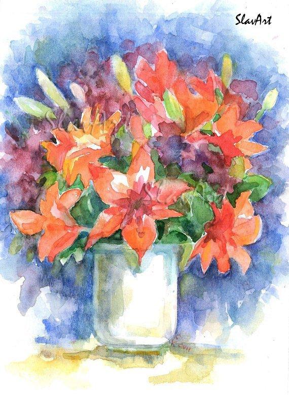 Orange flowers Watercolor panting Floral print Realistic style Summer garden Home decor Illustration