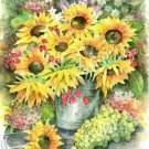 Sunflower bouquet Watercolor print Floral painting Realistic yellow sommer garden flowers Home decor