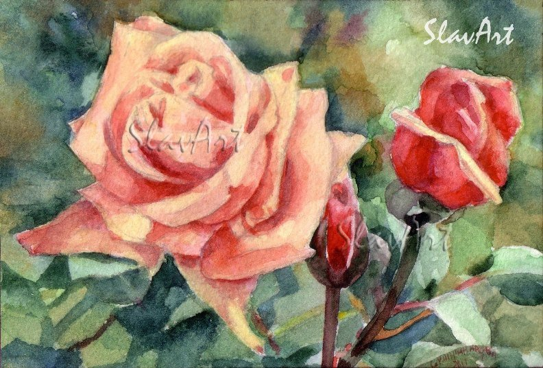 Pink Rose Print Watercolor Panting Floral Painting Realistic Summer Flowers Garden Home Decor Gift