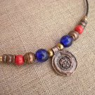 Necklace Copper Silver Bronze Beads Indigo Blue Glass Beads Red Polymerclay Beads Copper Pendant