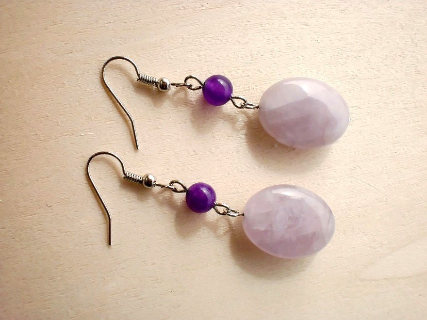 Natural Purple Amethyst Quartz Semi-precious Beaded Dangling Earrings Handcrafted Disigner Jewelry