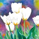 Watercolor painting White Tulips Realistic flowers Print Fine art Spring Summer garden Home decor