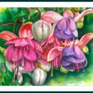 Watercolor painting Fuchsia Floral print Summer garden Home decor Gift