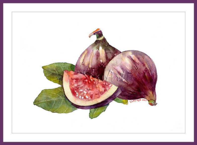 Fruit Art - Painting of Figs Still Life Food Print Watercolor Home Decor Realistic Kitchen art