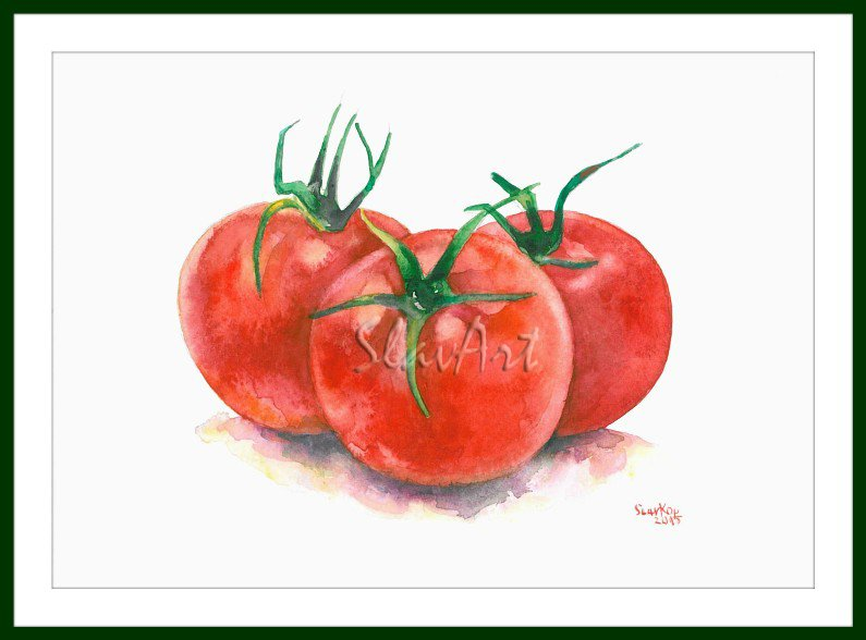 Greens Art - PaintingTomatoes Food Still Life Print Watercolor Home Decor Realistic Kitchen