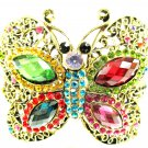 Butterfly Swarovski Crystal Metal Bangle Bracelet Antiqued Gold Filigree Rainbow Colors