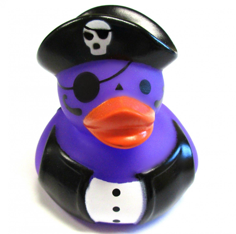 Jumbo Purple Pirate Rubber Ducky Halloween Vinyl Figure Decoration w/ Skull Hat
