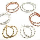 5 Pairs Silver Gold Copper Hoops Spiral Twist Earrings Lever Back Post Style