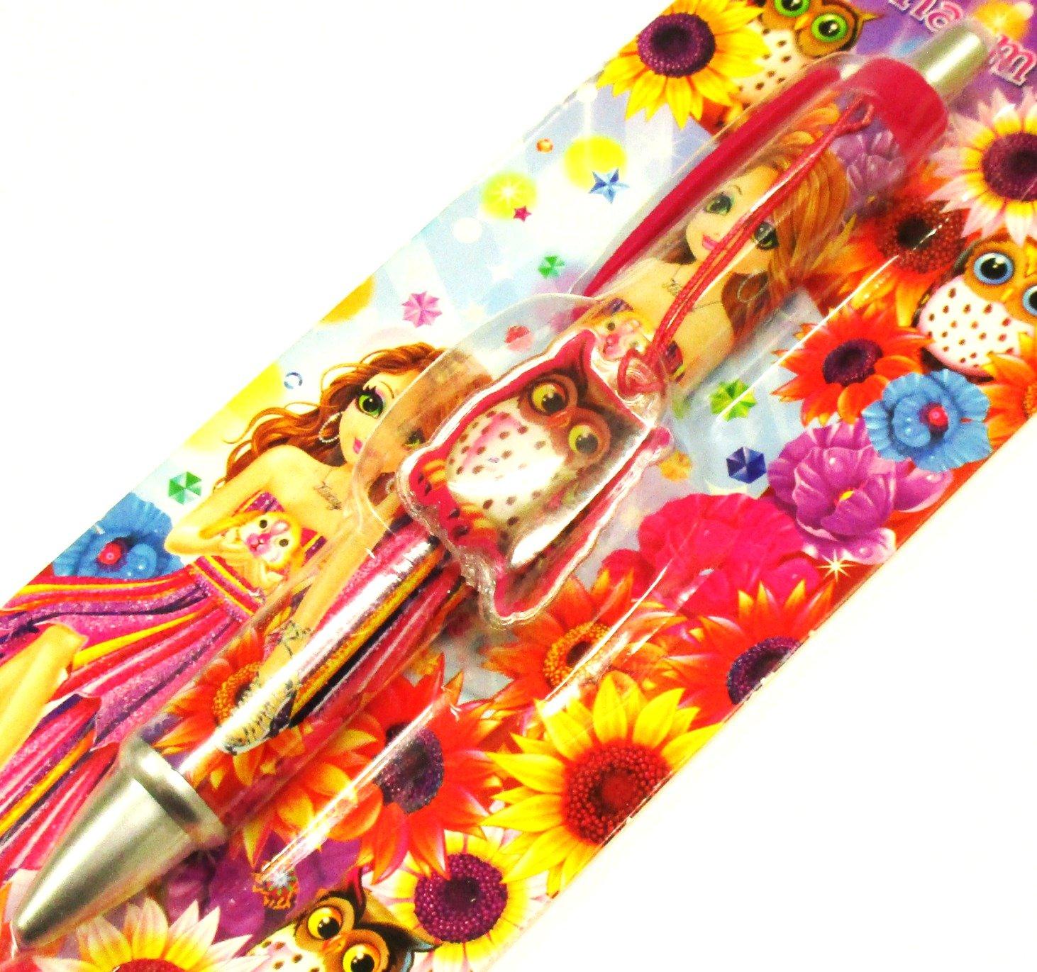 Lisa Frank Owl & Sunflower Daisy Bunny Rabbit Girl Dangle Charm Retractable Ball Point Ink Pen