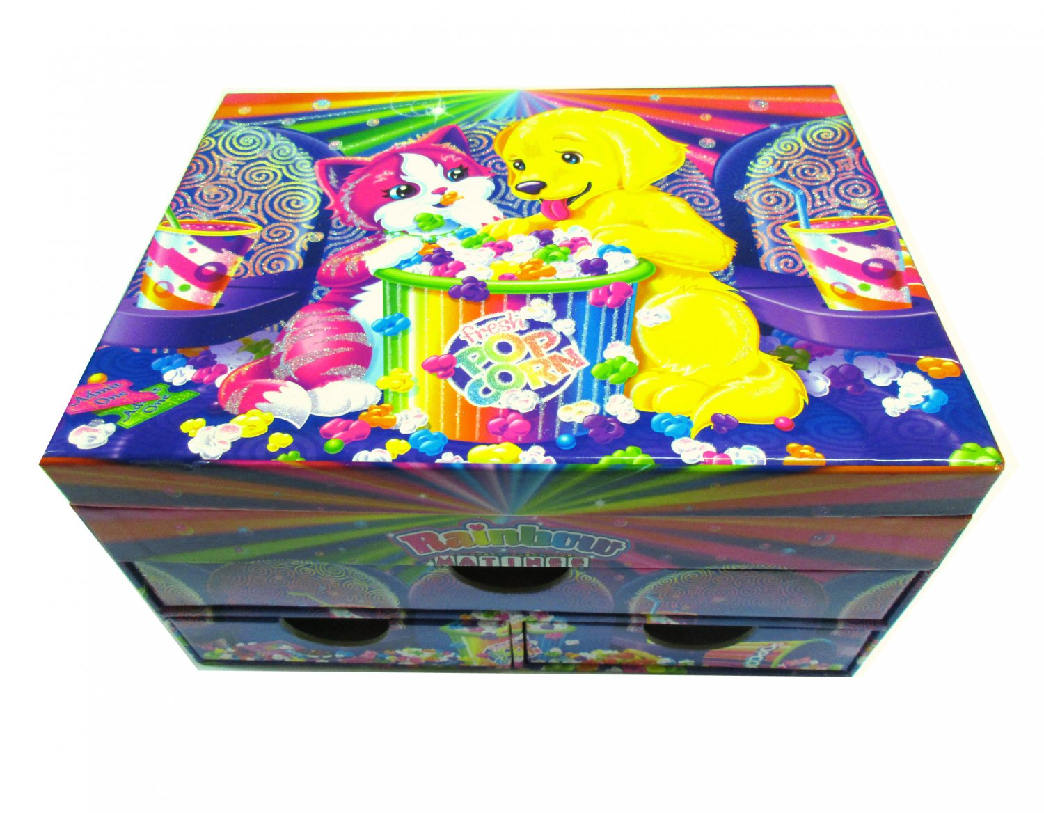 Lisa Frank Jewelry Stationery Chest Glittery Box Rainbow Matinee Puppy Kitten Cat
