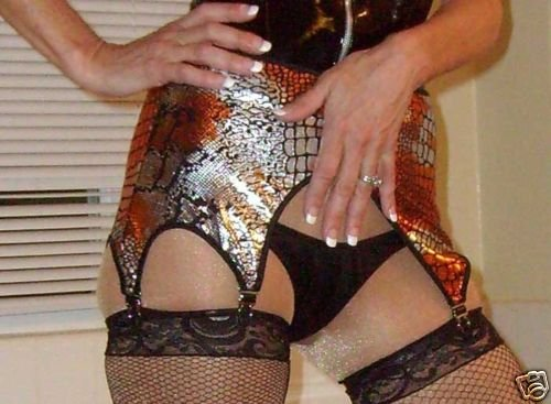 Kinky Foil pattern Garter Suspender Belt w/6 straps o/s