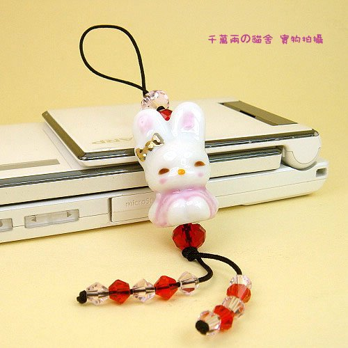 A0022 - Lucky rabbit transit /crystal mobile chain / mobile phone hang / DIY