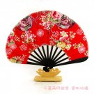 A0206 - Red Bamboo Kimono fan safflower