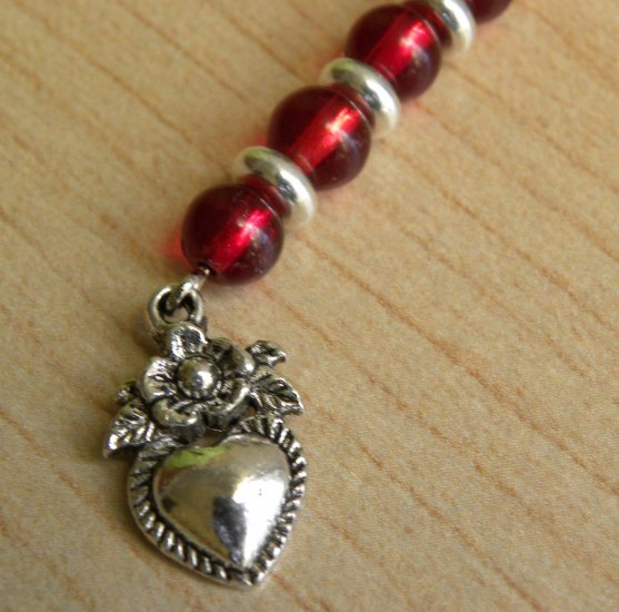 Hearts And Roses Cellphone Charm
