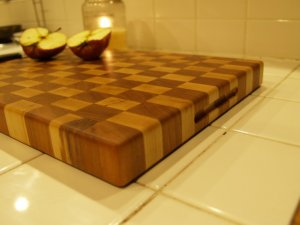 """Creekers Woodworks """"Big Boy"""" Maple and Cherry End Grain Cutting Board"""