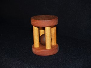 Wooden Tumbler ball rattle all natural baby toy Mohagany Oak Walnut