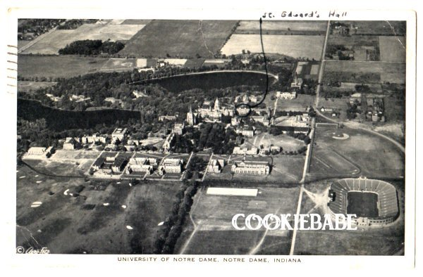 1945 NOTRE DAME UNIVERSITY, IN Old Aerial View Postcard