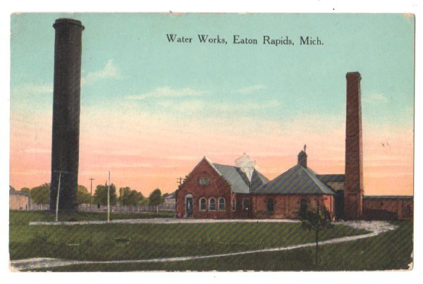 1914 Vtg Postcard EATON RAPIDS MI Water Works F4 Color