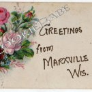 1912 Greetings from Marxville WI ANTIQUE POSTCARD F35