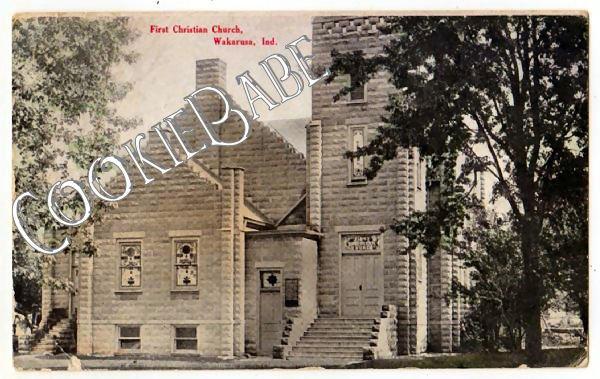 1909 WAKARUSA, IN First Christian Church Vtg Postcard