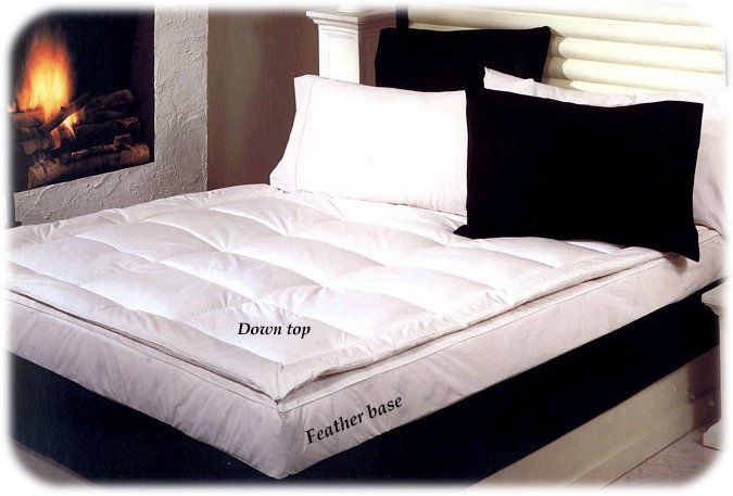 New FULL SIZE WHITE DOWN FEATHERBED - Mattress Topper