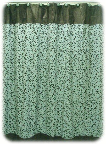 NEW Jessica McClintock BECALL Aqua/Brown Shower Curtain